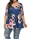 Allegrace Women's Plus Size Floral Printing Cold Shoulder Tunic Top Short Sleeve V Neck T Shirts Blue 2X