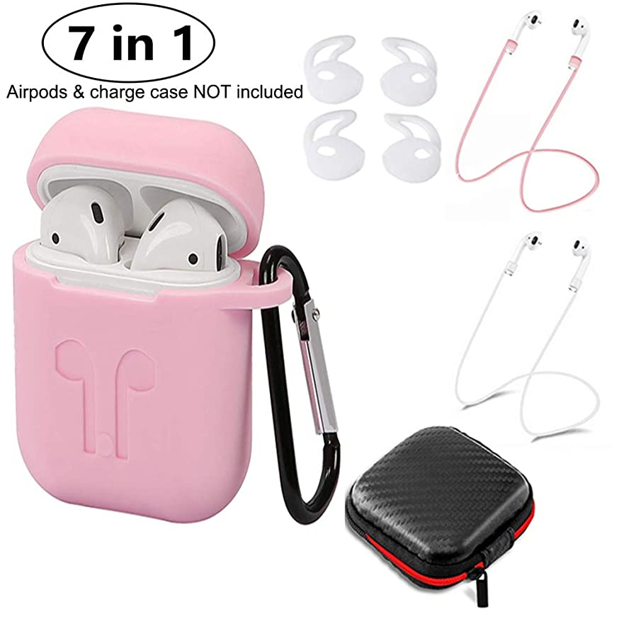 Scylkj AirPods Case 7 in 1 Airpods Accessories Non-Slip Silicone Case Cover Earphone Pouch Protective Skin Anti-Lost Wire Eartips Wireless Earphone Case for Apple AirPods (Pink)