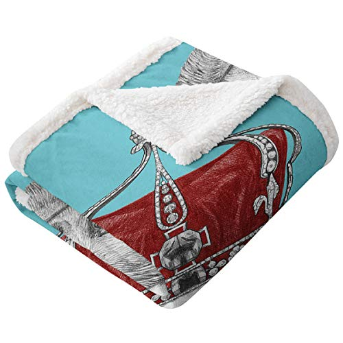 LANQIAO Sloth Velvet Wool Blanket Cute Hand Drawn Animal with Imperial Ancient Crown King of Laziness Theme Super Soft Warm Blanket Aqua Burgundy Grey90'x60'