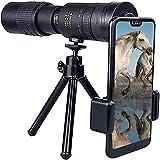 YUIOLIL Regalo 10-300x40 mm Super Teleobjetivo Telescopio monocular con Zoom, telescopio monocular HD, con trípode Adaptador de Clip para Smartphone, telescopio Telescopio monocular