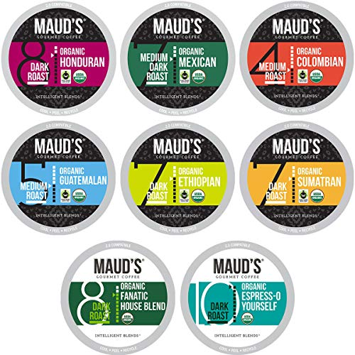 Maud's Organic Coffee Variety Pack, 56ct. Recyclable Single Serve Fair Trade Single Origin Organic Coffee Pods - 100% Organic Arabica Coffee California Roasted, Keurig Organic Coffee K Cups Compatible