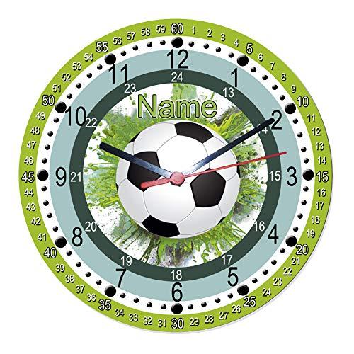 Lernuhr mit Fußball Motiv mit Name lautlos/Schriftwahl für Name