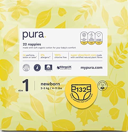 Pura - Couches Écologiques de Qualité Supérieure pour Bébé Taille 1 (2-6Kg) 6 Paquets de 22 Couches (132 au Total) Certifié Fsc Fibres Végétales Naturelles, Pures, Écologiques