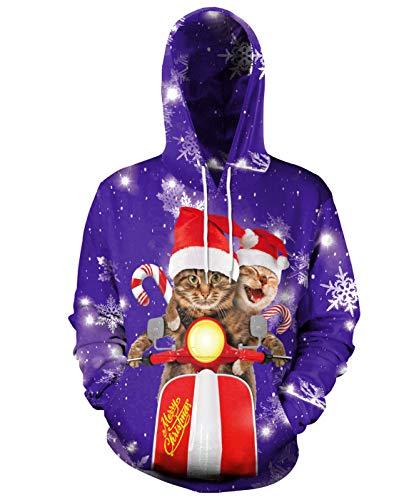 Necosthua Man Women Ugly Christmas Hoodie Santa Claus Cat Cool Novelty Pullover Hooded Xmas Snowflake Elk Sweatshirt Couple, S11-L