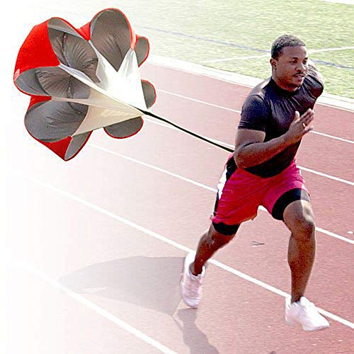Emoly Running Speed Chute Resistance Parachute,56 inch Power Chute Umbrella Training Sprint Chute Soccer Football Sport Speed Training for All Ages(New, Red)