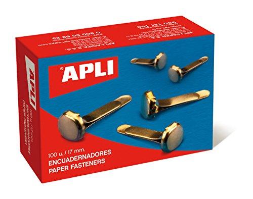 Apli 12284 - Boîte de 100 attaches parisiennes dorées - 17 mm