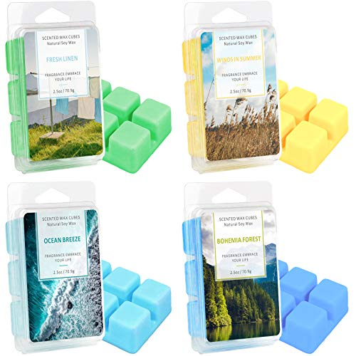 DERDUFT Scented Soy Wax Melts 4 Pack, Fragrance for Wax Melt Candle Warmer, Scent of Fresh Linen, Ocean Breeze, Winds in Summer, Bohemian Forest