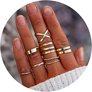 FINETOO 8-14 PCS Midi Rings Knuckle Stacking Multi Size Comfort Fit Silver/Gold Ring Set for Women