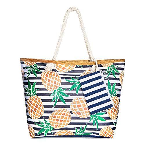 ZWOOS Bolsa de Playa de Lona Mujer Grande Bolso de Mano Shopper Bolsa con Cremallera (Piña)