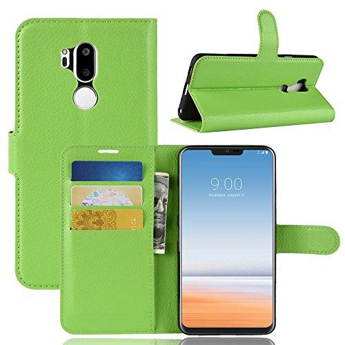 Fertuo LG G7 ThinQ Hülle, Lederhülle Flip Hülle Handyhülle mit Standfunktion, [Kartenfach] [Silikon Bumper] Bookstyle Schutzhülle Brieftasche Wallet Cover für LG G7 ThinQ, Grün