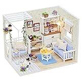 Kit de Maison de poupée en Bois Bricolage 3D, Puzzle Jouet LED lumière en Bois Meubles Miniatures Maison de poupée Kit, Mini Maison de poupée Playset, Meilleur Cadeau pour Anniversaire de Noël