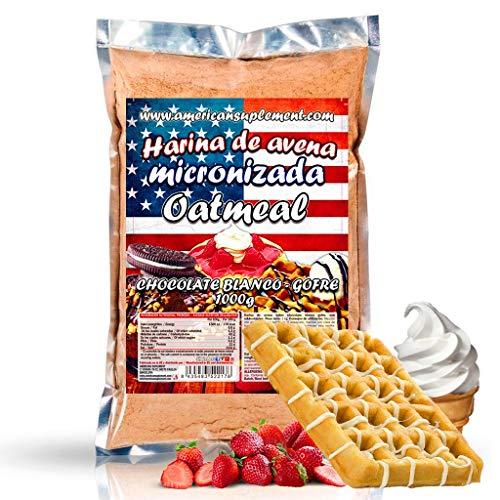 American Suplement - 1000 gr - Harina de Avena Integral, ideal para tortitas, batidos, bizcochos y magdalenas (CHOCO BLANCO CON GOFRE)