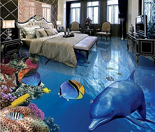 3d floor mural wallpape Tropical fish dolphins 3d floor tiles waterproof kitchen wallpaper vinyl flooring 3d wallpaper murals-150x105cm