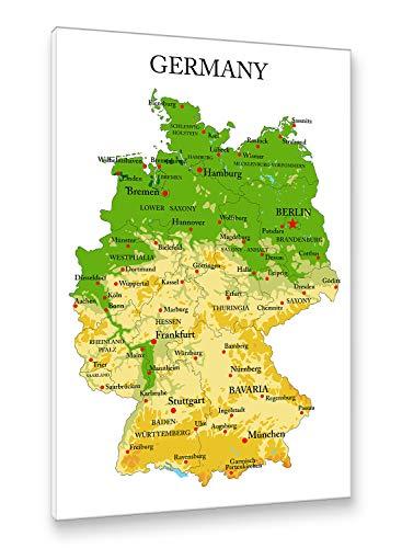 Postereck - Premium Leinwand - 1189 - Deutschland Karte, Hauptstädte Englisch Bundesländer - Größe 50,0 cm x 35,0 cm