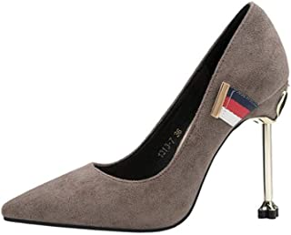 KTYXDE High-Heeled Shoes Women's High-Quality Materials Fashion Elegant Sexy Stiletto Work Shoes Spring and Summer 10.5CM 4 Colors Women's Shoes (Color : Gray, Size : EU35/UK3/CN34)