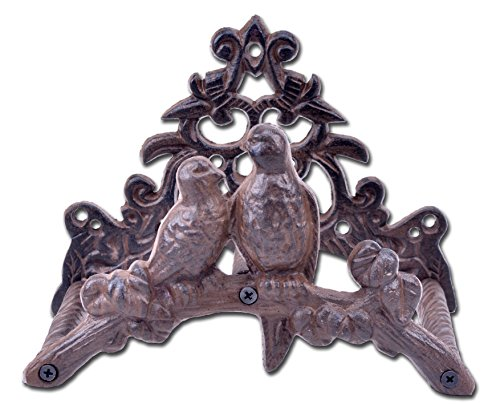 Import Wholesales Cast Iron Garden Hose Holder Love Birds 8.75' Wide