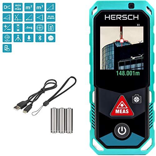 HERSCH LEM 150 Laser Entfernungsmesser (Digitale Kamera mit 4-fach Zoom, Bluetooth + App, drehbares Farbdisplay mit Touchscreen, 3D Messung, Neigungssensor, Ni-Mh Akku, IP65, Messungen bis 150 m