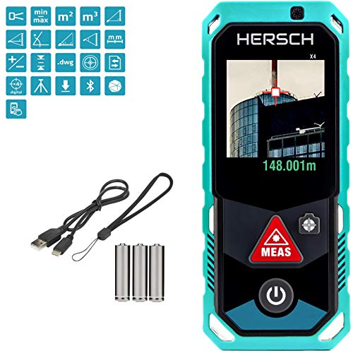 HERSCH LEM 150 Medidor láser (cámara integrada, puntero con Zoom de 4 aumentos, transmisión de datos Bluetooth 3D Medición, sensor de inclinación, Ni-Mh, IP65, Alcance 150 m)