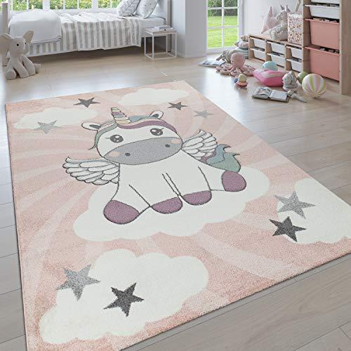 Paco Home Kinderteppich, Moderner Kinderzimmer Pastell Teppich, Niedliche 3D Tiermotive, Grösse:140x200 cm, Farbe:Pink 6
