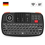 Rii i4 Mini Tastatur Wireless (Bluetooth 4.0 + 2.4G Wireless), Multimedia Tastatur mit Touchpad Maus, Mini Wireless Keyboard with Scrollrad und LED Hinterleuchtet (Deutsches Layout, schwarz)