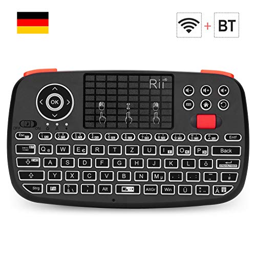 Rii i4 Mini Tastatur Bluetooth, Kabellos Tastatur mit Touchpad Maus(Bluetooth 4.0 + 2.4G Wireless), Wireless Tastatur with Scrollrad und LED Hinterleuchtet(Deutsches Layout, schwarz)