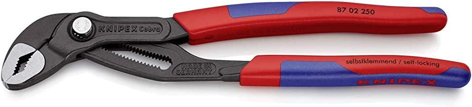 Knipex 87 02 250 SB Cobra High-tech Water Pump Pliers grey atramentized with slim multi-component grips (Blister Packed), ...