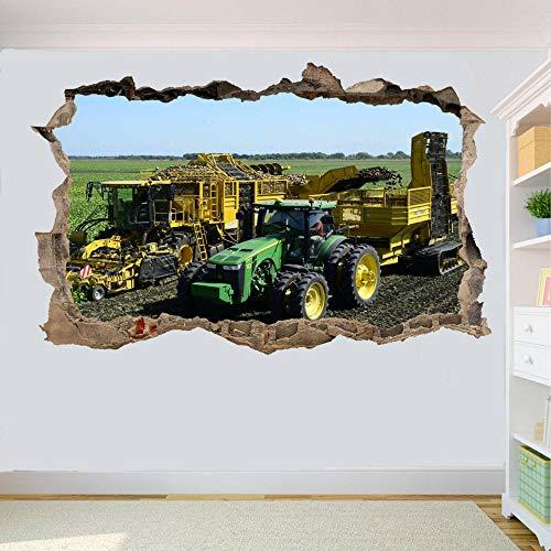 Etiqueta De La Pared 3D -Pegatinas De Pared De Tractor Cosecha De Patatas Decoración De Cartel De Oficina De Sala Mural De Arte Vinilos Pared, Decoracion Hogar 80x125cm