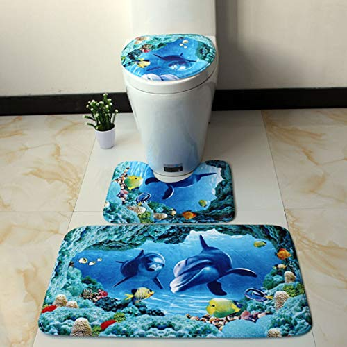 LIZHIOO 3pc Badezimmer Mat Antirutsch Ocean World Flanell Teppiche Pedestal Teppich Deckel Toiletten-Abdeckung Bodenmatte Pad Badezimmer (Color : F)