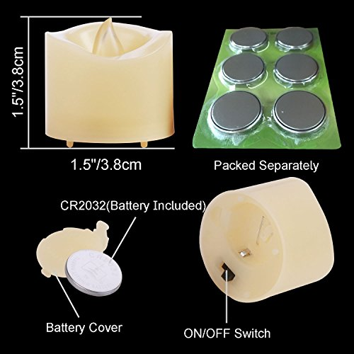 Beichi Flameless LED Tea Lights, Battery Operated Tealight Candles, Small Fake Candles in Amber Yellow Flickering Flame and Wavy Edge, D1.5 x H1.5, Set of 6