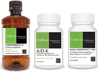 Davinci Laboratories Non-GMO Essential Supplements for Digestive Health - Vitamin A, D, K, C, Probiotics Bundle (3 Items)
