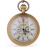 Orologi da taschino e taschino in rame anticato, stile Londra, orologio meccanico a carica manuale, da uomo, con catena, confezione regalo di Natale (1)