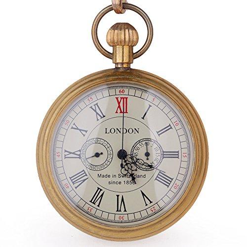 Kupfer Antik LONDON Pocket & Schlüsselanhänger Uhren Mechanische Uhr Hand Wind Skelett Herren Taschenuhr mit Kette Weihnachts Geschenk-Box