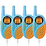 Retevis RT35 Walkie Talkie Niños Recargable PMR446 8 Canales VOX Linterna Reloj Digital Despertador Walkie Talkies con USB Cable y Baterías Juguete Regalo para Niños (Azul, 2 Par)