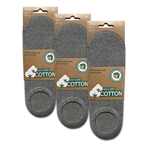 BIOBASICS Herren und Damen 100prozent BIO Baumwolle Füßlinge Sneaker-Socken Unsichtbar (12 Paar) Grau 39-42