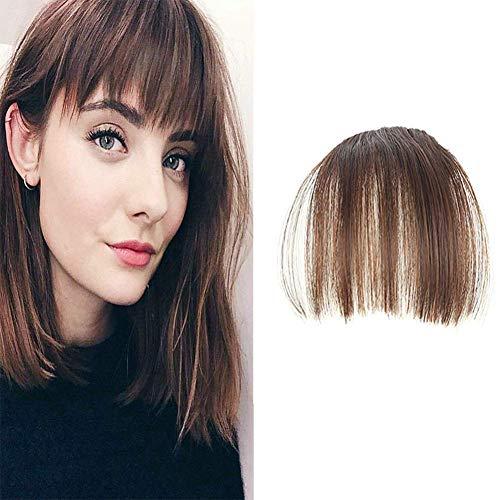 LaaVoo Mano Atada Flequillo de Cabello Natural Castano Claro Bangs Hair Extension Pelo Clip Pelo Corto