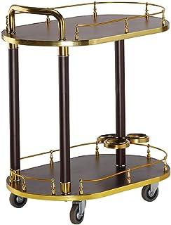 Diseño moderno de 2 Niveles Vino Bastidores Home Bar Sirviendo la compra Carros aparador de la cocina rejilla de metal y v...