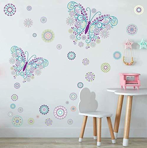 Sticker Mural Papillon avec Autocollant Mural Fleur,Papillon Romantique Créatif Stickers Muraux pour Chambre de Filles Salon Enfants Bébé Chambre Pépinière DIY Mur Home Décoration(36Pcs)