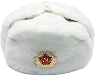 Fur Winter Ushanka Russian Hat with Secret Pocket and Red Star Emblem (Removable)