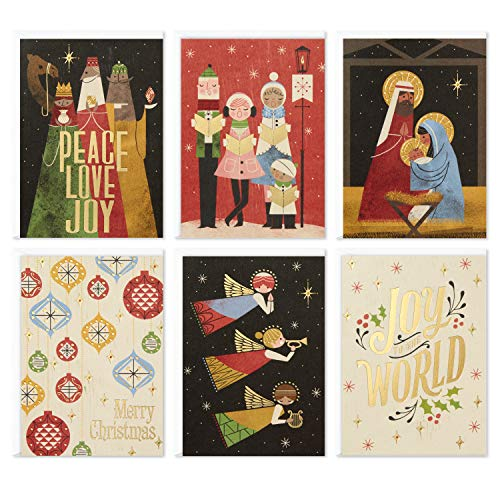 Hallmark Assorted Boxed Christmas Cards, Joy to the World (48 Cards with Envelopes)