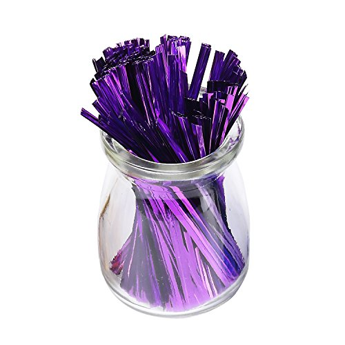Sago Brothers 200pcs 4 Inches Metallic Twist Ties (Purple)