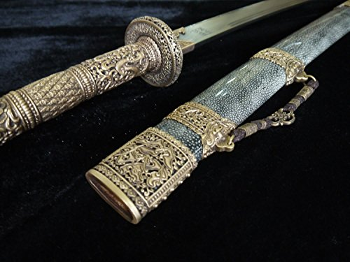 Loong Sword,Kangxi Collection dao,Handmade(Damascus Steel Blade,Skin Scabbard,Brass Fittings) Full...