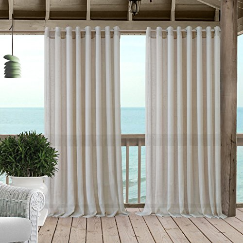 """Elrene Home Fashions Carmen Extra Wide Indoor/Outdoor Sheer Grommet Window Curtain Panel, 114"""" x 108"""" (1, Natural"""