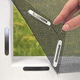 Hoberg 07660 - Mosquitera para ventana con fijación magnética innovadora (hasta 150 x 130 cm, se puede cortar a medida, sin taladrar ni tornillos, 16 clips magnéticos), color negro