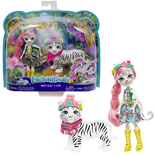 Enchantimals Muñeca Tadley Tiger con mascota Kitty White Ti