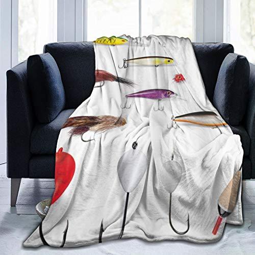 QIUTIANXIU Mantas para Sofás de Franela 150x200cm Materiales de Redes de Pesca con Zapatas giratorias Cañas para Moscas Flotadores Gaffs Pasatiempo recreativo Manta para Cama Extra Suave