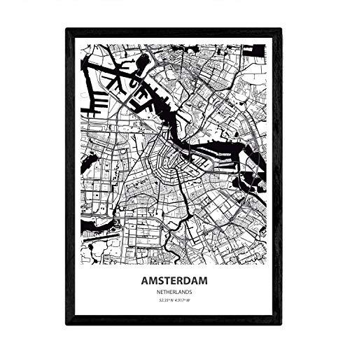 Nacnic Poster con Mapa de Amsterdam - Holanda. Láminas de Ciudades de Holanda y Bélgica con Mares y ríos en Color Negro. Tamaño A3