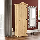 Vida Designs <span class='highlight'>Corona</span> <span class='highlight'>Wardrobe</span>, 1 <span class='highlight'>Door</span>, Solid Pine Wood, Solid Pine Wood, Distressed Waxed Pine Bedroom Wooden Storage Mexican Furniture