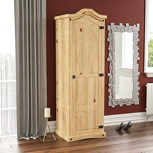 Vida Designs Corona Wardrobe, 1 Door, Solid Pine Wood, Solid Pine Wood, Distressed Waxed Pine Bedroom Wooden Storage Mexican Furniture