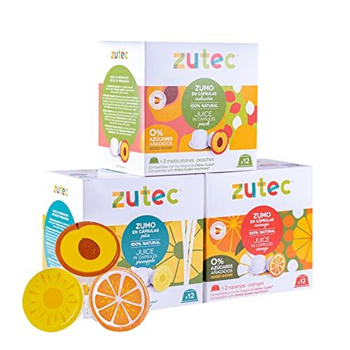Zutec - Capsule di succo Assortiti (Arancia, Ananas e Pesca) Naturale al 100% - Compatibile con macchine da caffè Dolce Gusto®* - 3 Scatole di 12 capsule - 36 capsule
