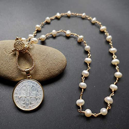 Shangwang - Collar de perlas de nácar de agua dulce natural 21 mm